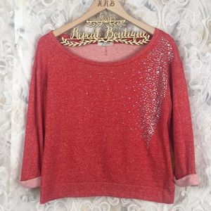 Freebird red off shoulder cropped bling sweater M
